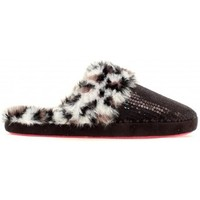 M&F Western Products Ladies Black Sequins and Leopard Fur Slippers
