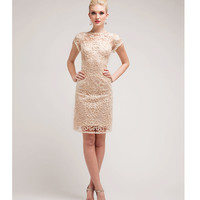 Cream Satin & Sequin Cocktail Dress 2015 Prom Dresses