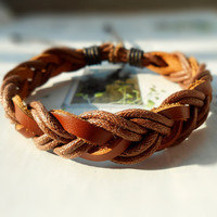 Christmas Gift Winter Brown Leather Style Fashion Braid Multilayer Weaved Cotton rope Wrap Bracelet W-41