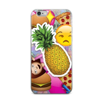 Pineapple Sad Face Girl Alien Pizza & Burger Emoji Collage Teen Cute Girly Girls Tie Dye iPhone 4 4s 5 5s 5C 6 6s 6 Plus 6s Plus 7 & 7 Plus Case