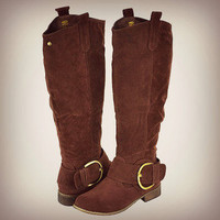 Tall Brown Riding Boots Gold Buckle Faux Suede Pretty Knee High Womens Fashion