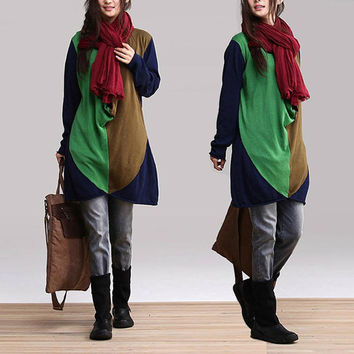 Green mixed colors and long sections loose pullover sweater/ Leisure Splice Bottoming shirt  jacket