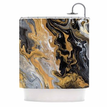 """Catherine Holcombe """"Gold Vein Marble"""" Black Gold Abstract Geological Painting Shower Curtain"""