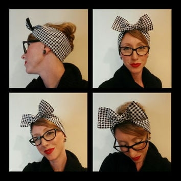 Women's 1940's style vintage inspired retro head wrap head scarf rockabilly black and white houndstooth print Hair Bow