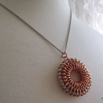Copper and Aluminum Chainmail Sunburst Necklace, Sterling Silver Necklace, 16 inch Silver Chain, Chainmaille Necklace