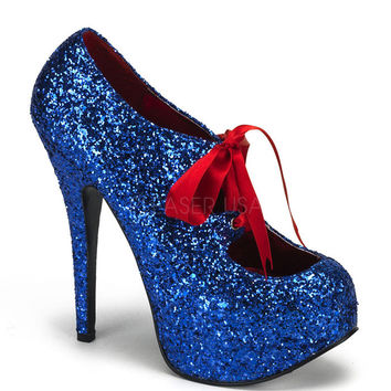 Bordello Electric Blue Glitter Stiletto Platforms