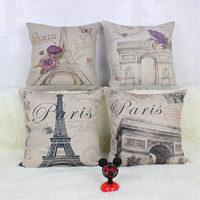 Hot Sale Fashion Decorative Cushions Paris Print Cotton Linen Throw Pillows Sofa Home Decor Almofadas