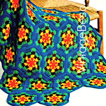 A Lap Robe of Hexagons Afghan CROCHET 1970s Vintage Crochet Pattern great blanket for bed or to snug up Instant Download Pdf