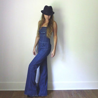 Bell Bottom Jumpsuit  //  Vintage Bellbottom Jeans Overalls  //  Dark Denim Flared Bohemian Bellbottoms