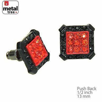 Jewelry Kay style Men's Fashion Iced Out Black & Red Square Micro Pave CZ Stud Earrings TE505 BKRD