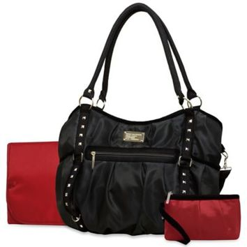 Wendy Bellissimo Tamale Studded Tote Diaper Bag in Red/Black