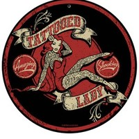 Tattooed Lady Metal Sign