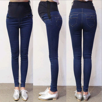 923# Spring Autumn Denim Maternity Jeans Belly Pants Clothes for Pregnant Women Waist Adjustable Pencil Pregnancy Trousers Wear