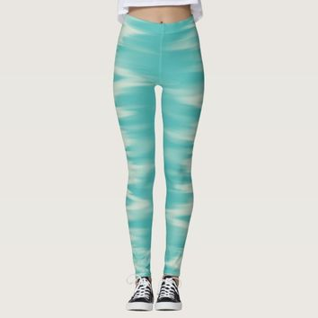 Turquoise blue ice pattern leggings