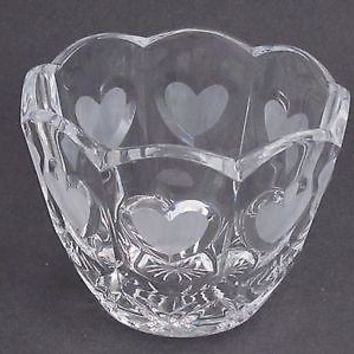lead crystal bowl, Hearts, Made in USA ,glass