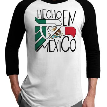 Hecho en Mexico Design - Mexican Flag Adult Raglan Shirt by TooLoud