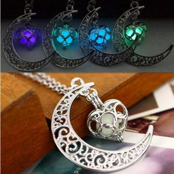 Moon Glowing Necklace Luminous Love Pendant Turquoise Charm Jewelry Silver Plated Accessories