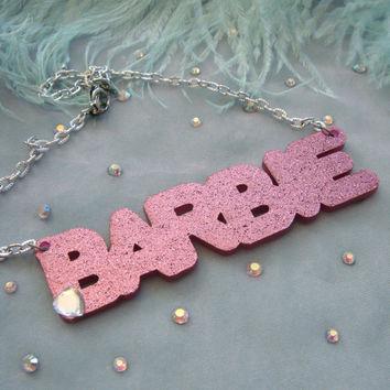 Glittery Pink BARBIE Necklace by imyourpresent on Etsy