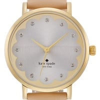 Kate Spade 'Metro' Scallop Dial Leather Strap Watch, 34mm