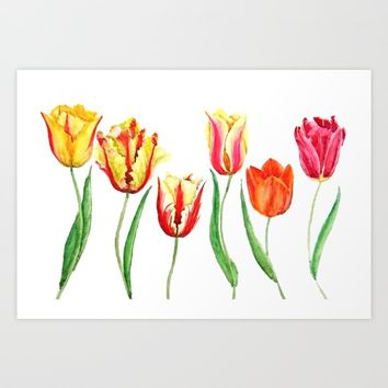 colorful tulips Art Print by Color and Color