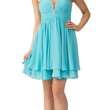 Aqua Homecoming Short Dress Ruched Bodice