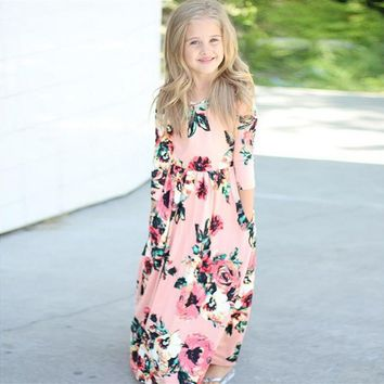 Flower Girls Long Dress 2018 New Spring Summer Cotton Kids Clothes Casual Children Princess Dresses for Holiday Party