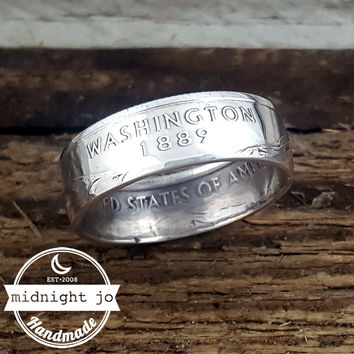 Washington 90% Silver State Quarter Coin Ring