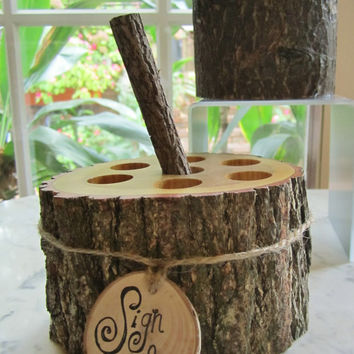 Bridal Rustic Barn Wedding Guest Book Pen Pencil Fallen Tree Holder