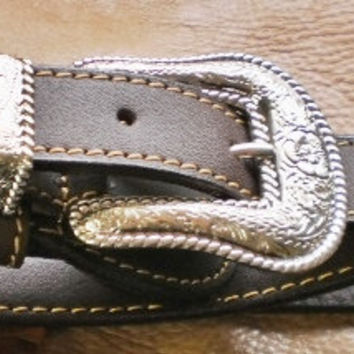 mens dark brown handmade cowboy leather belt with by G2Pleather