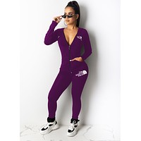 The North Face New fashion letter print long sleeve top and pants two piece suit women Purple