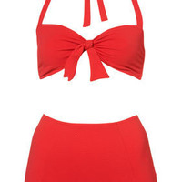 Red Textured Big Pant Bikini