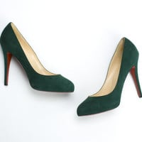 Christian Louboutin Green Suede Pumps