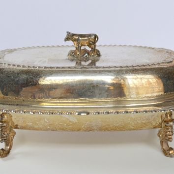 Vintage Ornate English Silver Butter Dish w/  Cow Lid Top & Cut Glass Base