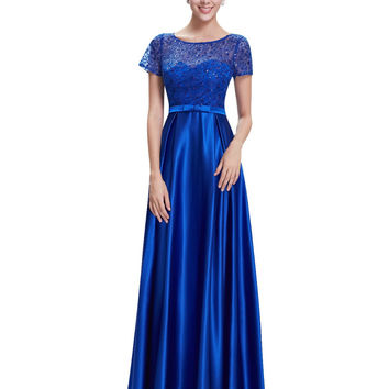 Formal Evening Dresses Ever Pretty HE08668 2017 Women Party A Line Long Sapphire Blue Elegant Short Sleeve Gowns Vestidos Noche