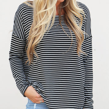 Change The World Striped Top {Black + White}