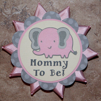 Elephant themed button pin pink-grey polka dot- Customizable