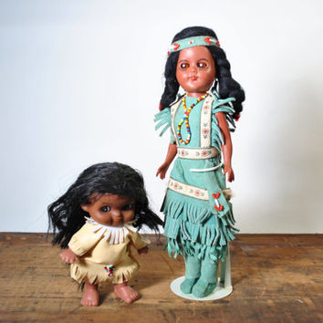 Two Vintage Indian Dolls Baby Turquoise Leather Beads Native American Estate Find Collectible