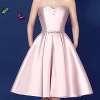 Nude Pink Swetheart Bowknot Waist Lacing Back Strapless Prom Skater Dress
