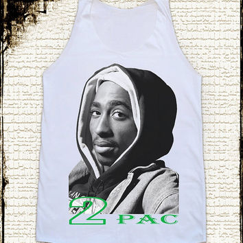 Size L -- 2PAC Shrits Tupac Shakur Shirts Hip Hop Shirts Women Shirts Vest Tank Top Women Tunics Top Shirts Sleeveless Singlet White Shirts