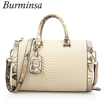 Burminsa Brand Crocodile Pattern Genuine Leather Bags Women's Boston Designer Handbags High Quality Shoulder Crossbody bags 2017