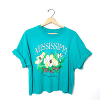 Vintage Cropped TShirt. Grunge Cut Off Shirt. MISSISSIPPI Tee Shirt. The Magnolia State T Shirt. Floral Flowers. XL Large