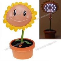 Hot 17 LED USB Rechargeable Sunflower and Flowerpot Shape Foldable Sunflower Lamp