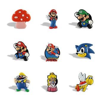 Super Mario party nes switch 9pcs  Bros Cartoon PVC Cute Stationery Stickers for Kids Blackboard Magnets Office School supplies Kids Party Favor AT_80_8