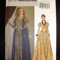 Queen's Gown, Princess Renaissance Dress Size 14,16,18,20 Costume Butterick 5114 Sewing Pattern Uncut