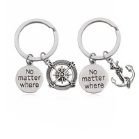 "2pcs / Set Trendy Punk Style Anchor Compass Letter ""No matter where"" Key Ring Couple Unisex Key chair For Women Man Gift Jewelry"