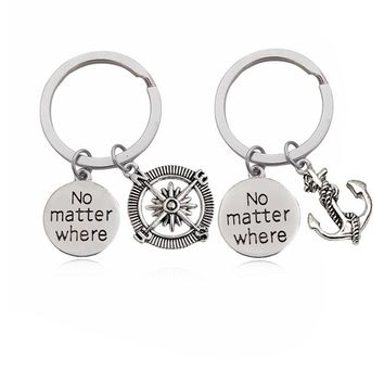 """2pcs / Set Trendy Punk Style Anchor Compass Letter """"No matter where"""" Key Ring Couple Unisex Key chair For Women Man Gift Jewelry"""