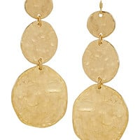 Kenneth Jay Lane - Hammered gold-plated earrings