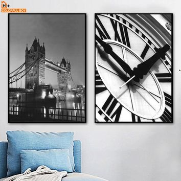 COLORFULBOY Big Ben London Bridge Wall Art Print Modern Posters And Prints Canvas Painting Wall Pictures For Living Room Decor