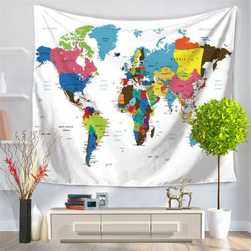 Polyester printed world map wall tapestry wall hangings for living room bedroom home textile decoration 150*130cm & 150*200cm