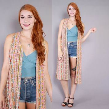 Vintage 60s Long VEST / 1960s Boho Ethnic Tapestry Festival Sleeveless Duster
